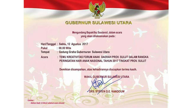 Undangan Temu Kreativitas Forum Anak Daerah Provinsi Sulawesi Utara