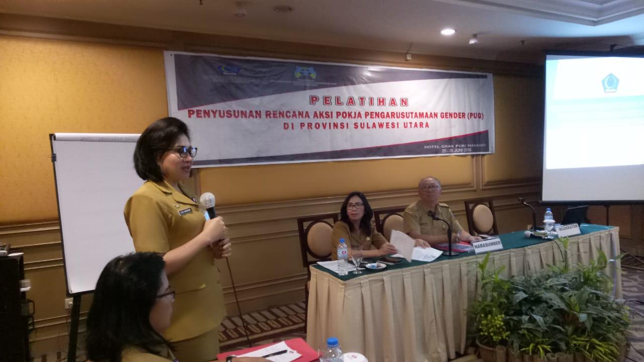 Pelatihan Penyusunan Rencana Aksi Pokja Pengarusutamaan Gender (PUG) di Tingkat Prov. Sulut